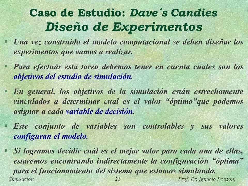 Simulación 23 Prof. Dr. Ignacio Ponzoni Caso de Estudio: Dave´s Candies Diseño de Experimentos Una vez construido el modelo computacional se deben dis