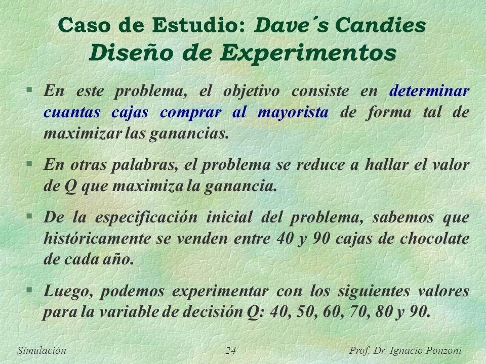 Simulación 24 Prof. Dr. Ignacio Ponzoni Caso de Estudio: Dave´s Candies Diseño de Experimentos En este problema, el objetivo consiste en determinar cu