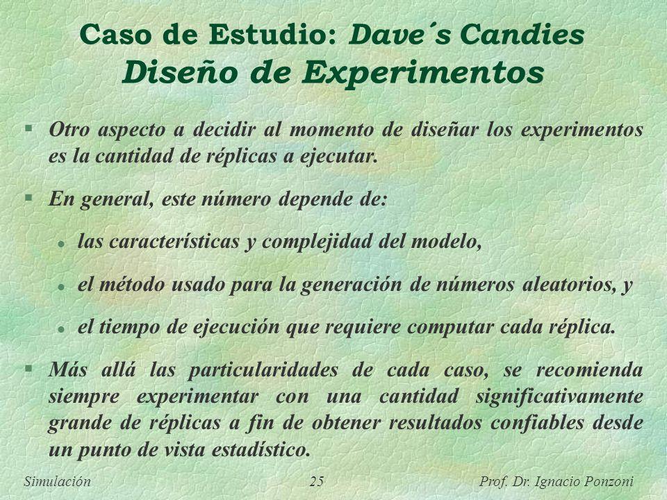 Simulación 25 Prof. Dr. Ignacio Ponzoni Caso de Estudio: Dave´s Candies Diseño de Experimentos Otro aspecto a decidir al momento de diseñar los experi