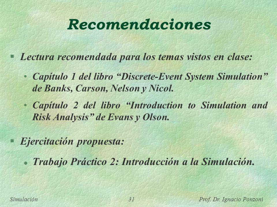 Simulación 31 Prof. Dr. Ignacio Ponzoni Recomendaciones Lectura recomendada para los temas vistos en clase: Capítulo 1 del libro Discrete-Event System