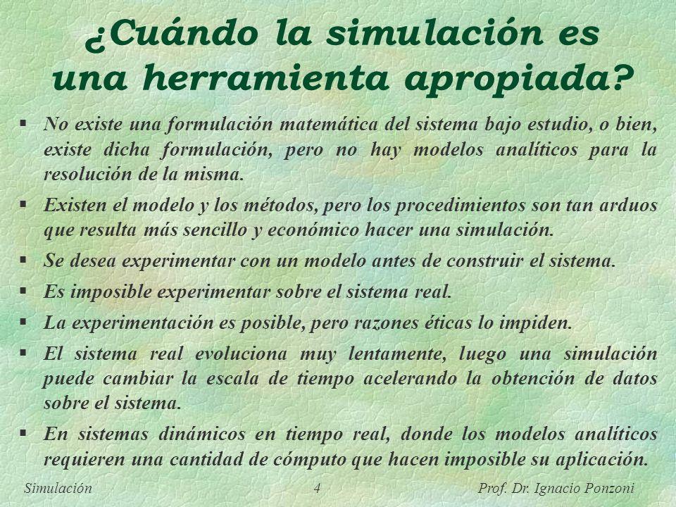 Simulación 4 Prof. Dr. Ignacio Ponzoni ¿Cuándo la simulación es una herramienta apropiada? No existe una formulación matemática del sistema bajo estud