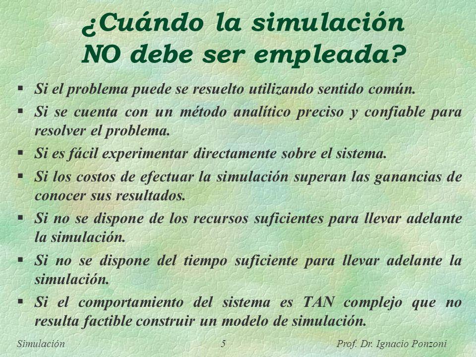 Simulación 5 Prof. Dr. Ignacio Ponzoni ¿Cuándo la simulación NO debe ser empleada? Si el problema puede se resuelto utilizando sentido común. Si se cu