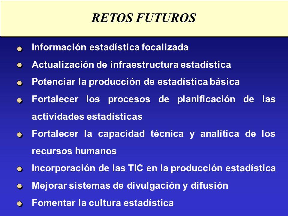 Información estadística focalizada Actualización de infraestructura estadística Potenciar la producción de estadística básica Fortalecer los procesos