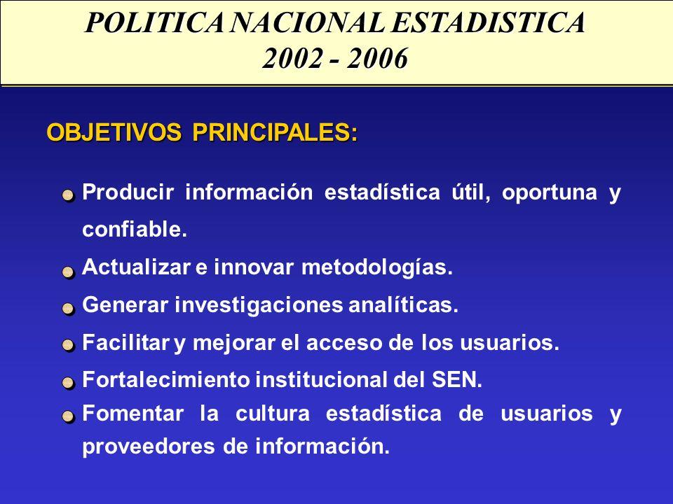 OBJETIVOS PRINCIPALES: Producir información estadística útil, oportuna y confiable. Actualizar e innovar metodologías. Generar investigaciones analíti