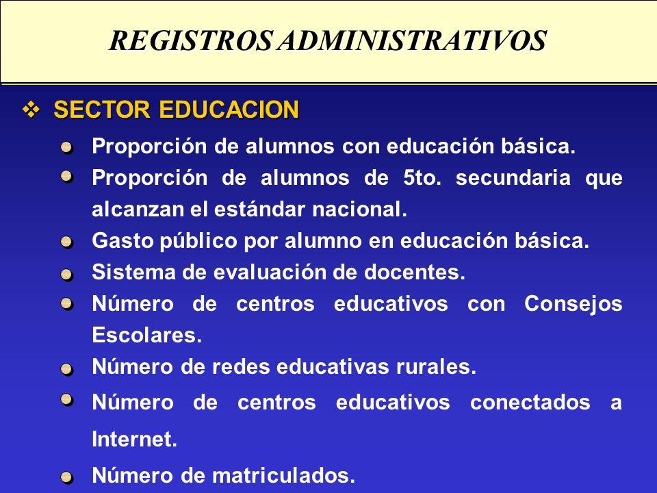 SECTOR EDUCACION SECTOR EDUCACION Proporción de alumnos con educación básica. Proporción de alumnos de 5to. secundaria que alcanzan el estándar nacion