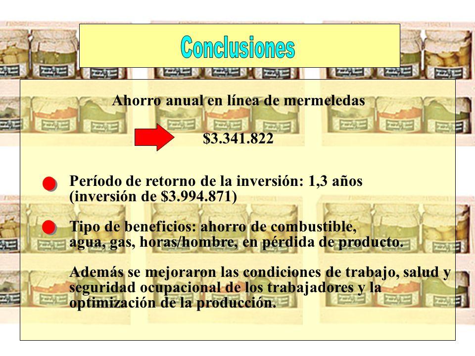 Período de retorno de la inversión: 1,3 años (inversión de $3.994.871) Tipo de beneficios: ahorro de combustible, agua, gas, horas/hombre, en pérdida