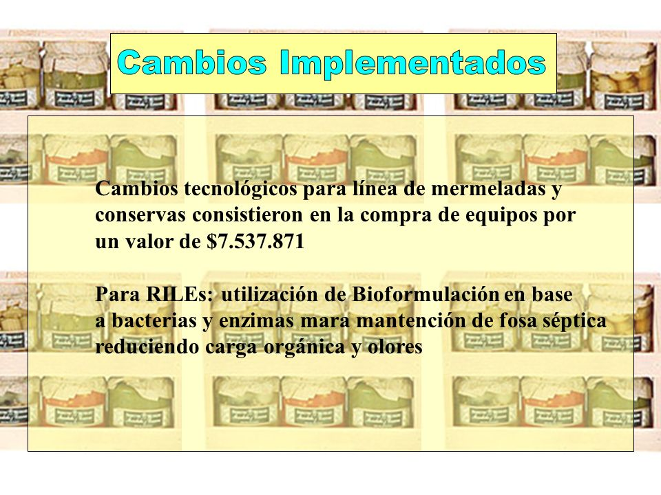 Cambios tecnológicos para línea de mermeladas y conservas consistieron en la compra de equipos por un valor de $7.537.871 Para RILEs: utilización de B