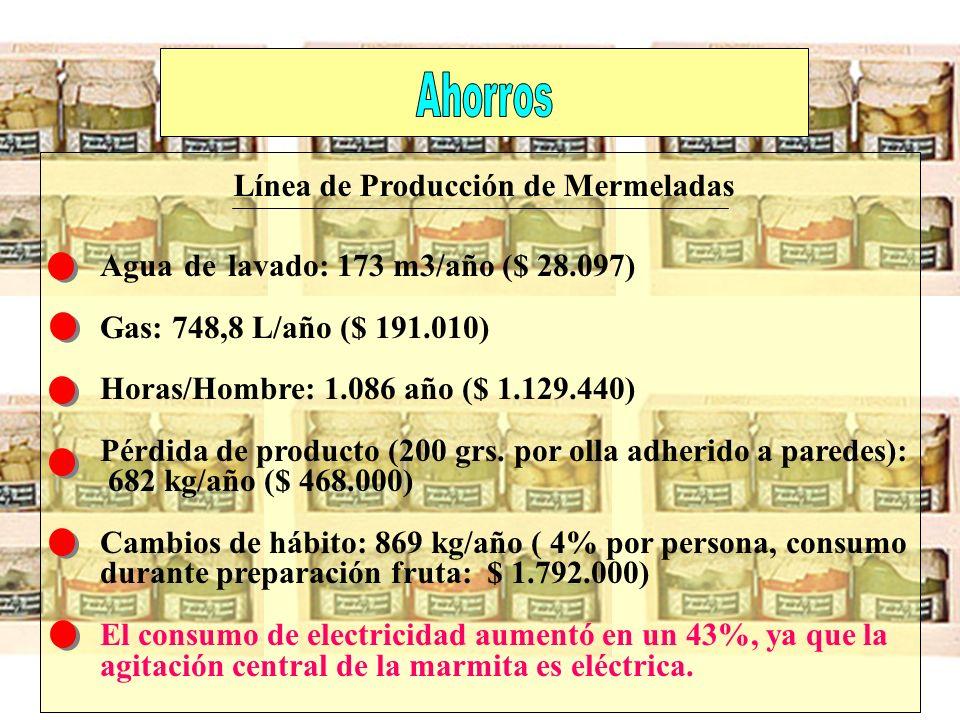 Agua de lavado: 173 m3/año ($ 28.097) Gas: 748,8 L/año ($ 191.010) Horas/Hombre: 1.086 año ($ 1.129.440) Pérdida de producto (200 grs. por olla adheri