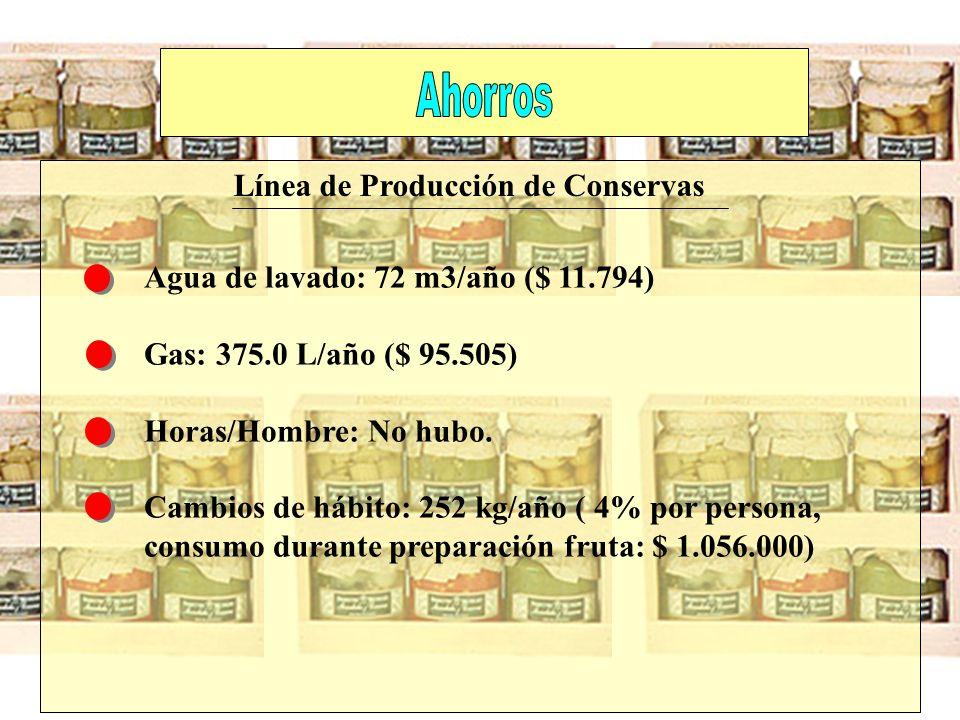 Agua de lavado: 72 m3/año ($ 11.794) Gas: 375.0 L/año ($ 95.505) Horas/Hombre: No hubo. Cambios de hábito: 252 kg/año ( 4% por persona, consumo durant