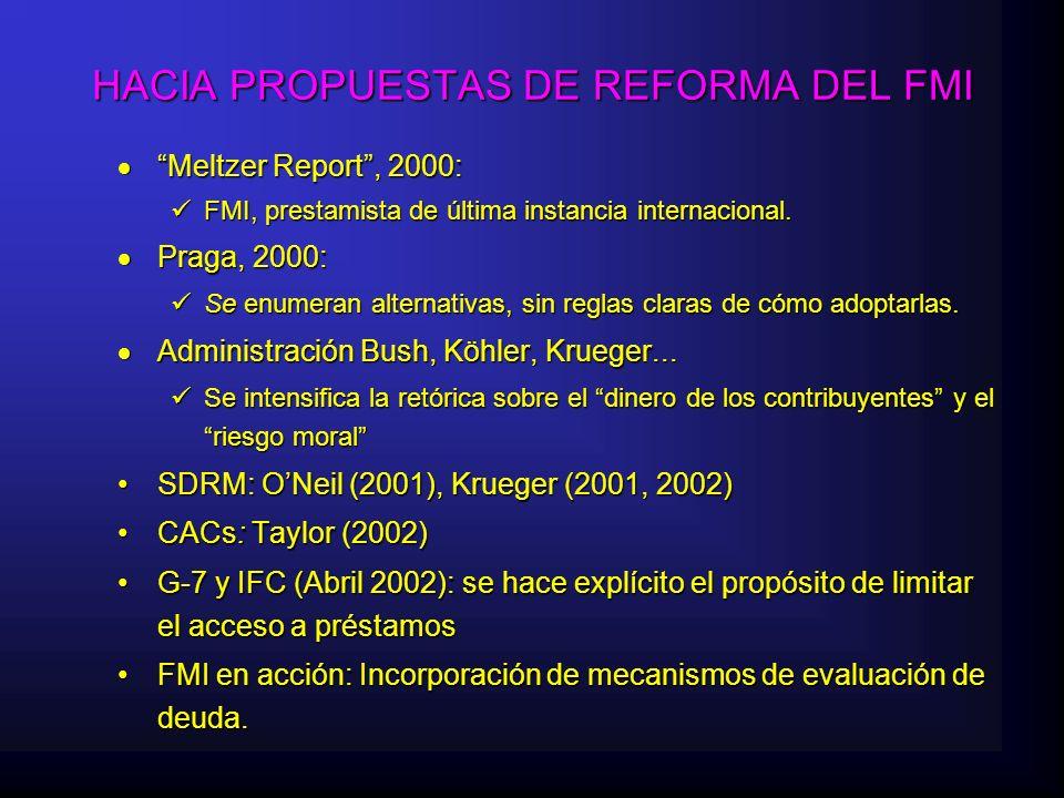 HACIA PROPUESTAS DE REFORMA DEL FMI Meltzer Report, 2000: Meltzer Report, 2000: FMI, prestamista de última instancia internacional.