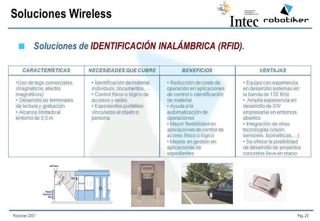 Robotiker, 2001Pág. 20 Soluciones de IDENTIFICACIÓN INALÁMBRICA (RFID).