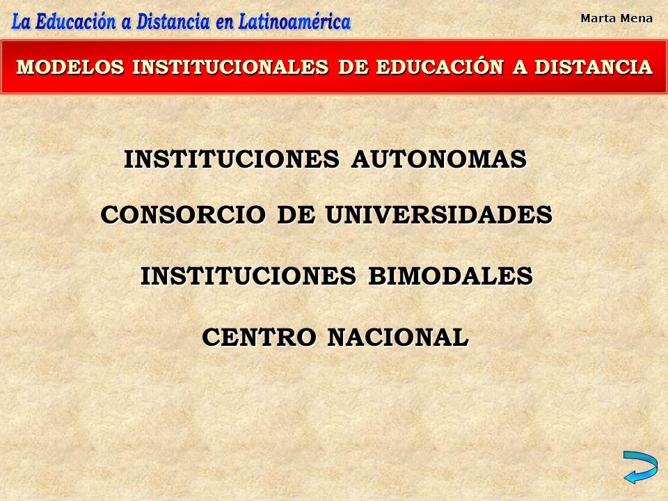 MODELOS INSTITUCIONALES DE EDUCACIÓN A DISTANCIA INSTITUCIONES AUTONOMAS CONSORCIO DE UNIVERSIDADES INSTITUCIONES BIMODALES CENTRO NACIONAL Marta Mena