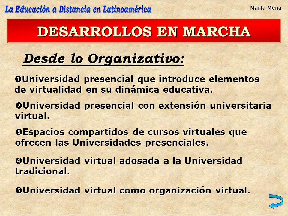 Desde lo Organizativo: DESARROLLOS EN MARCHA Universidad presencial que introduce elementos de virtualidad en su dinámica educativa. Universidad prese