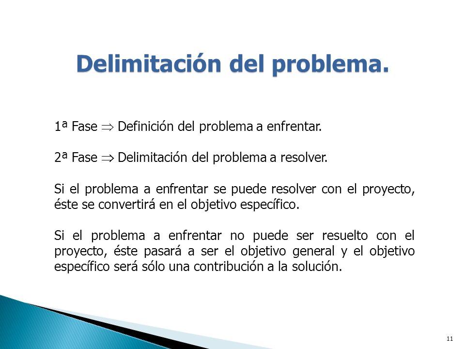 11 Delimitación del problema.1ª Fase Definición del problema a enfrentar.