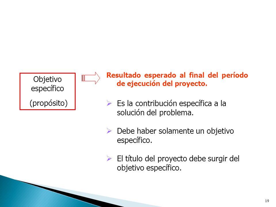 19 Resultado esperado al final del período de ejecución del proyecto.