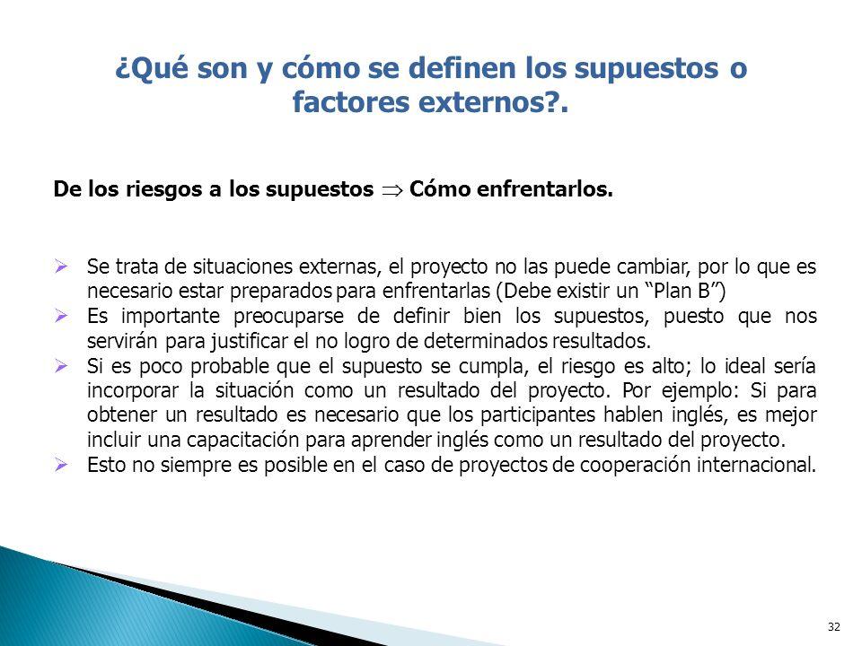 32 ¿Qué son y cómo se definen los supuestos o factores externos?.