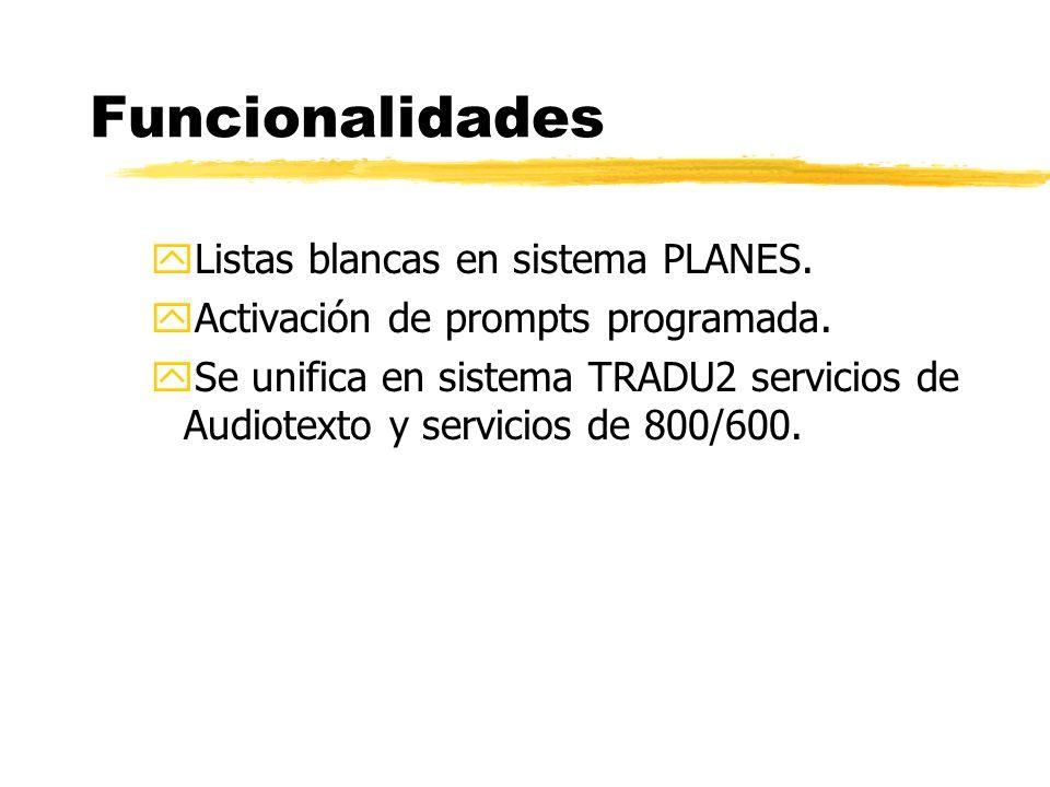 yListas blancas en sistema PLANES. yActivación de prompts programada.