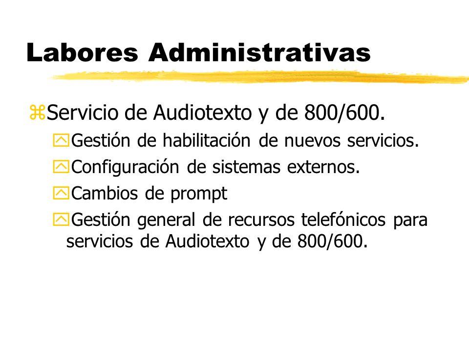 Labores Administrativas zServicio de Audiotexto y de 800/600.