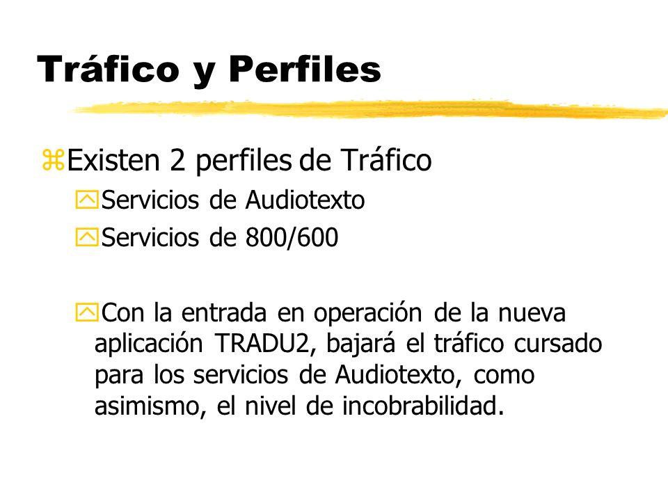 Tráfico y Perfiles zExisten 2 perfiles de Tráfico yServicios de Audiotexto yServicios de 800/600 yCon la entrada en operación de la nueva aplicación TRADU2, bajará el tráfico cursado para los servicios de Audiotexto, como asimismo, el nivel de incobrabilidad.