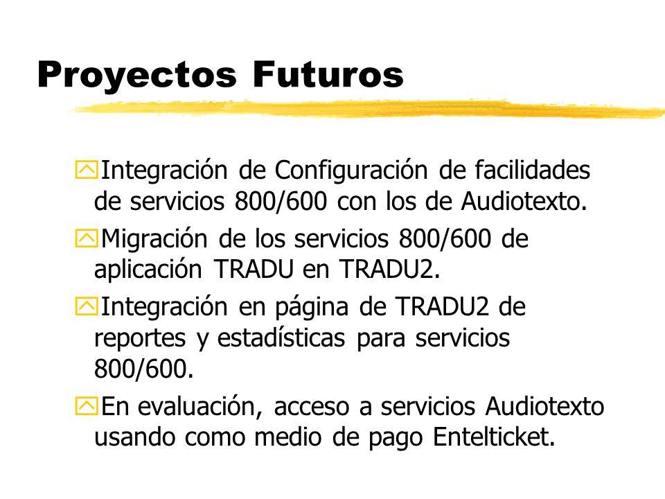 Proyectos Futuros yIntegración de Configuración de facilidades de servicios 800/600 con los de Audiotexto.