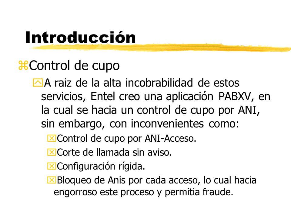 zControl de cupo yA raiz de la alta incobrabilidad de estos servicios, Entel creo una aplicación PABXV, en la cual se hacia un control de cupo por ANI, sin embargo, con inconvenientes como: xControl de cupo por ANI-Acceso.