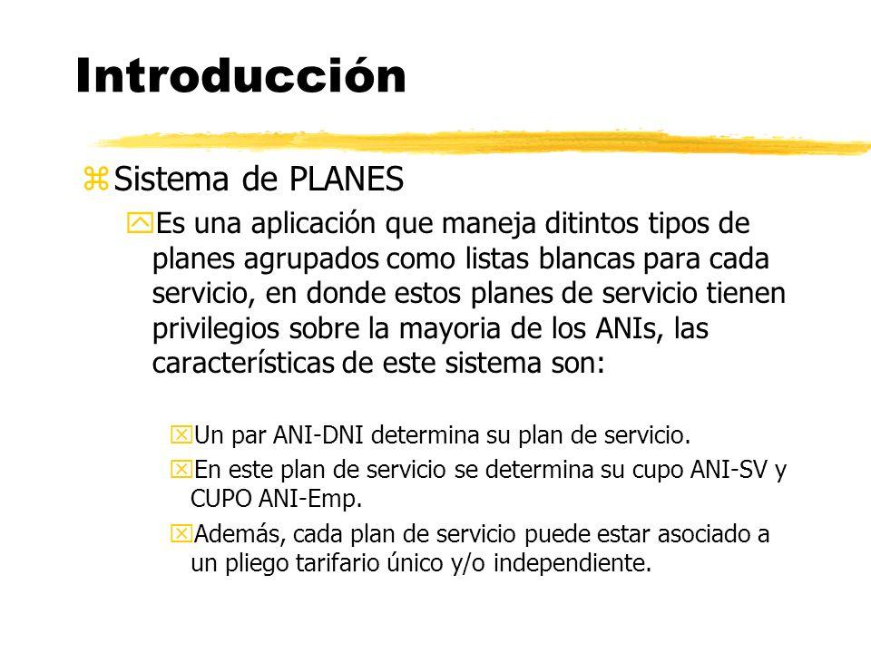 zSistema de PLANES yEs una aplicación que maneja ditintos tipos de planes agrupados como listas blancas para cada servicio, en donde estos planes de servicio tienen privilegios sobre la mayoria de los ANIs, las características de este sistema son: xUn par ANI-DNI determina su plan de servicio.