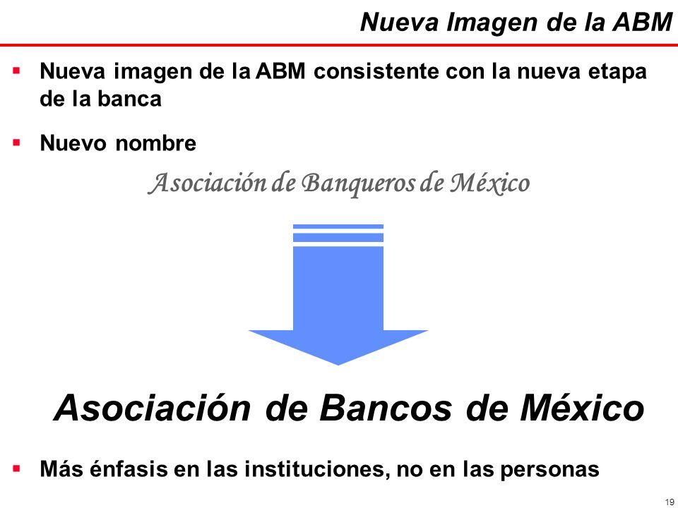 19 Nueva Imagen de la ABM Nueva imagen de la ABM consistente con la nueva etapa de la banca Asociación de Banqueros de México Asociación de Bancos de México Nuevo nombre Más énfasis en las instituciones, no en las personas