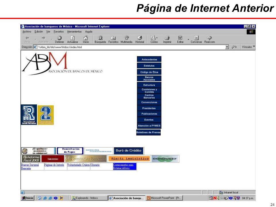 24 Página de Internet Anterior