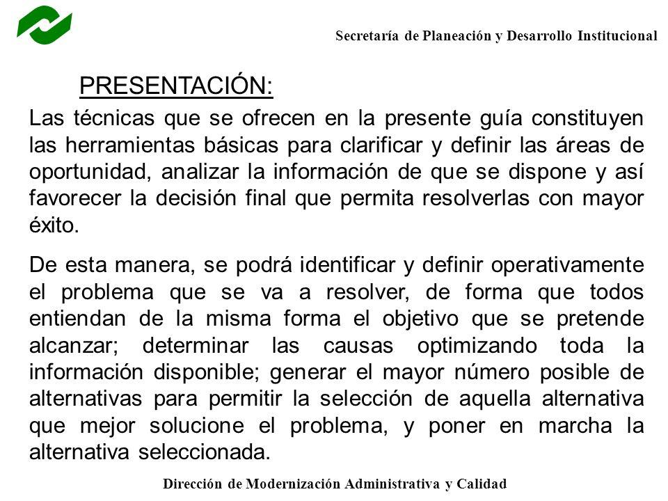 Secretaría de Planeación y Desarrollo Institucional Dirección de Modernización Administrativa y Calidad EFECTOS DEL C.C.