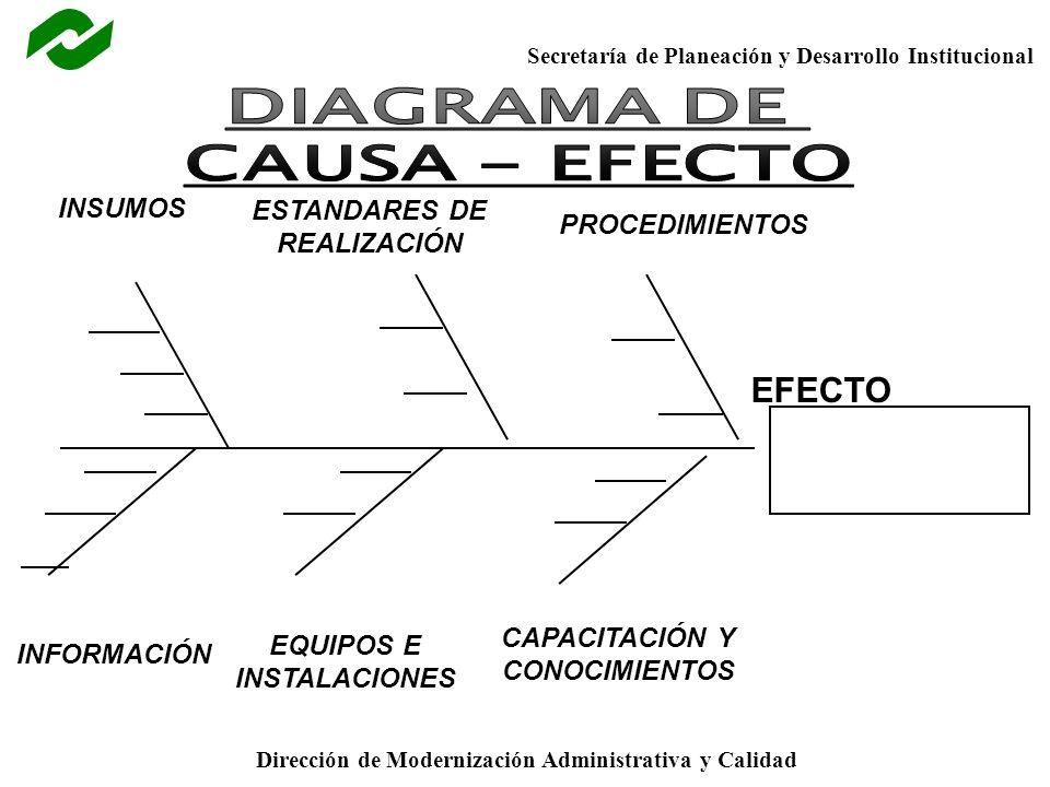 Secretaría de Planeación y Desarrollo Institucional Dirección de Modernización Administrativa y Calidad EFECTO INSUMOS ESTANDARES DE REALIZACIÓN PROCE
