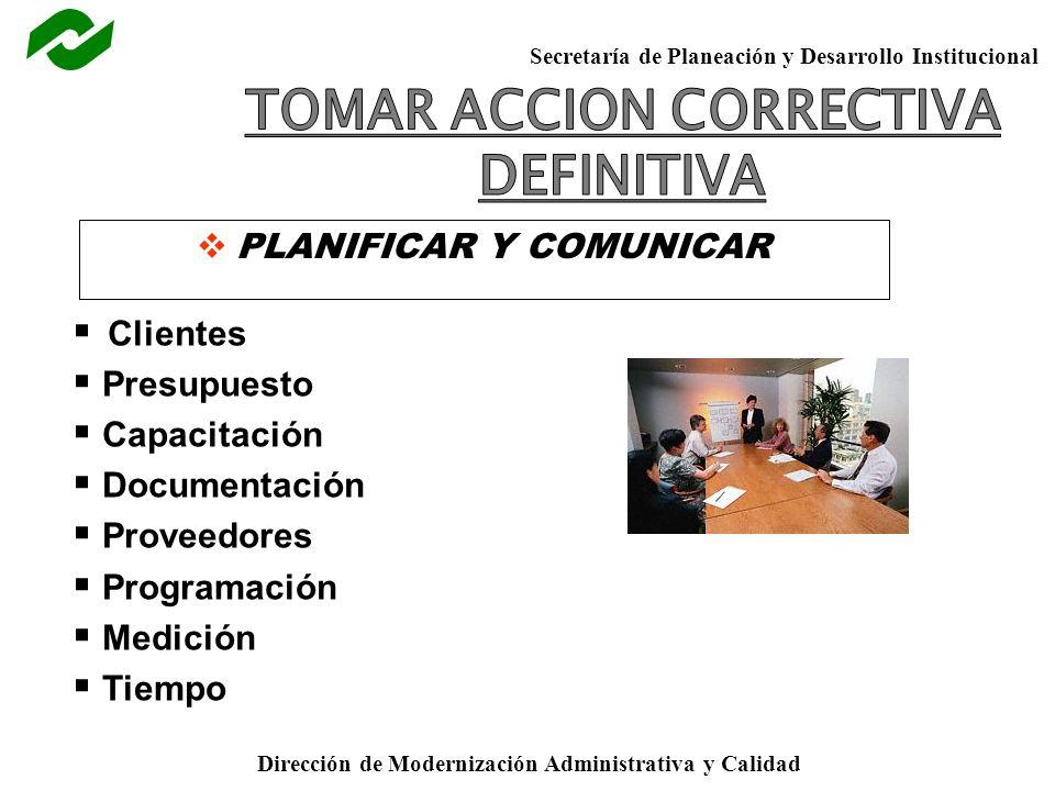 Secretaría de Planeación y Desarrollo Institucional Dirección de Modernización Administrativa y Calidad PLANIFICAR Y COMUNICAR Clientes Presupuesto Capacitación Documentación Proveedores Programación Medición Tiempo