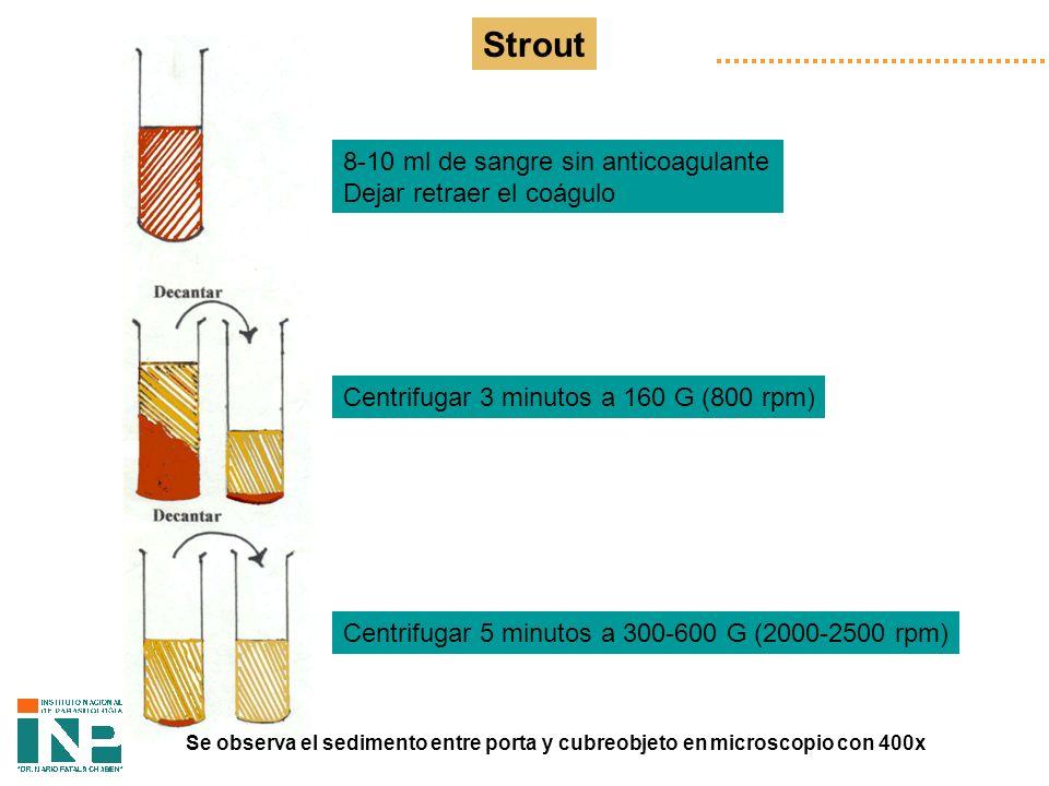 Strout 8-10 ml de sangre sin anticoagulante Dejar retraer el coágulo Centrifugar 3 minutos a 160 G (800 rpm) Centrifugar 5 minutos a 300-600 G (2000-2500 rpm) Se observa el sedimento entre porta y cubreobjeto en microscopio con 400x