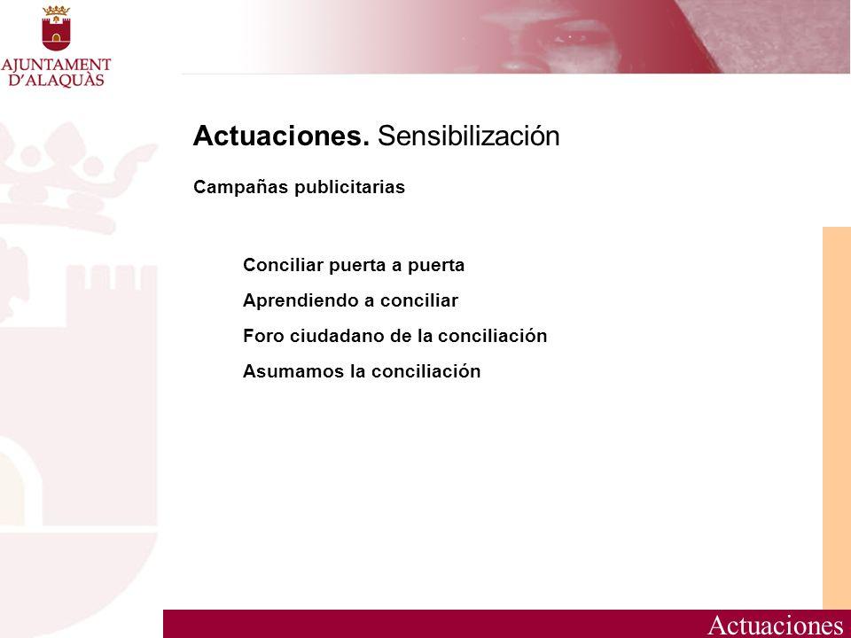 Actuaciones Actuaciones. Sensibilización Campañas publicitarias Conciliar puerta a puerta Aprendiendo a conciliar Foro ciudadano de la conciliación As