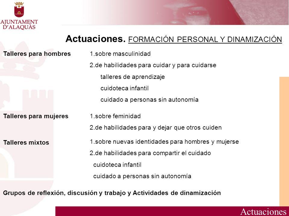 Actuaciones Actuaciones. FORMACIÓN PERSONAL Y DINAMIZACIÓN 1.sobre masculinidad 2.de habilidades para cuidar y para cuidarse talleres de aprendizaje c