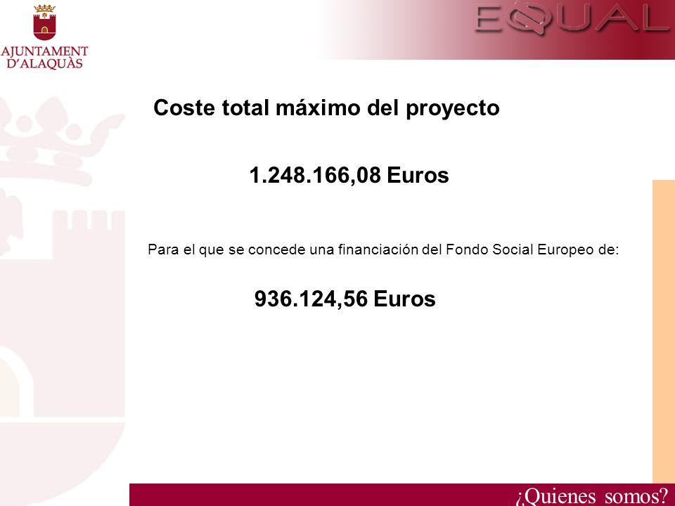 ¿Quienes somos? Coste total máximo del proyecto 1.248.166,08 Euros Para el que se concede una financiación del Fondo Social Europeo de: 936.124,56 Eur
