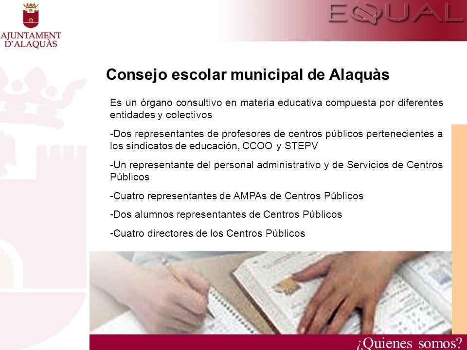 ¿Quienes somos? Consejo escolar municipal de Alaquàs Es un órgano consultivo en materia educativa compuesta por diferentes entidades y colectivos - Do