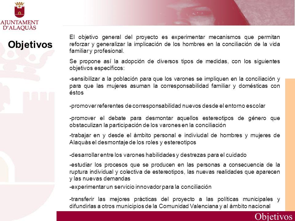 Objetivos El objetivo general del proyecto es experimentar mecanismos que permitan reforzar y generalizar la implicación de los hombres en la concilia