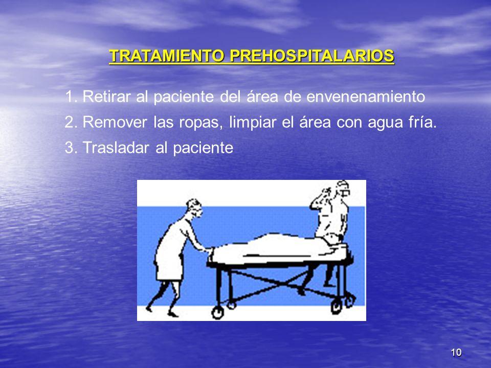 10 TRATAMIENTO PREHOSPITALARIOS 1. Retirar al paciente del área de envenenamiento 2. Remover las ropas, limpiar el área con agua fría. 3. Trasladar al