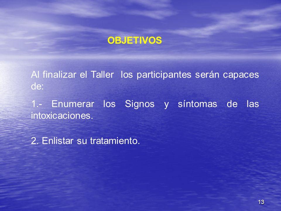 13 OBJETIVOS Al finalizar el Taller los participantes serán capaces de: 1.- Enumerar los Signos y síntomas de las intoxicaciones. 2. Enlistar su trata