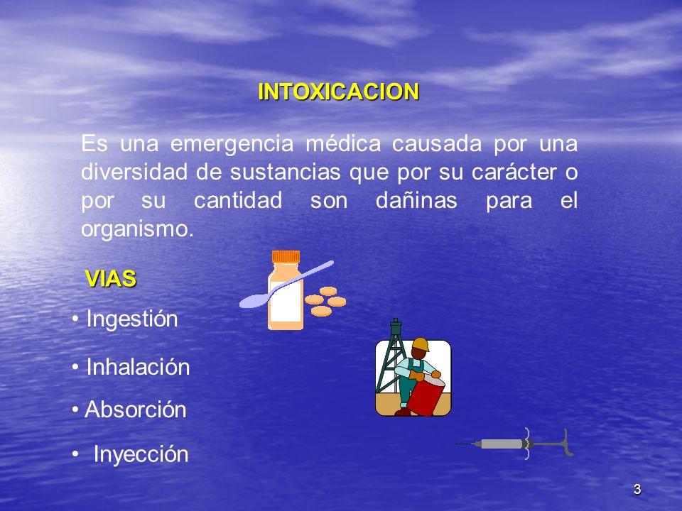 3 INTOXICACION Es una emergencia médica causada por una diversidad de sustancias que por su carácter o por su cantidad son dañinas para el organismo.