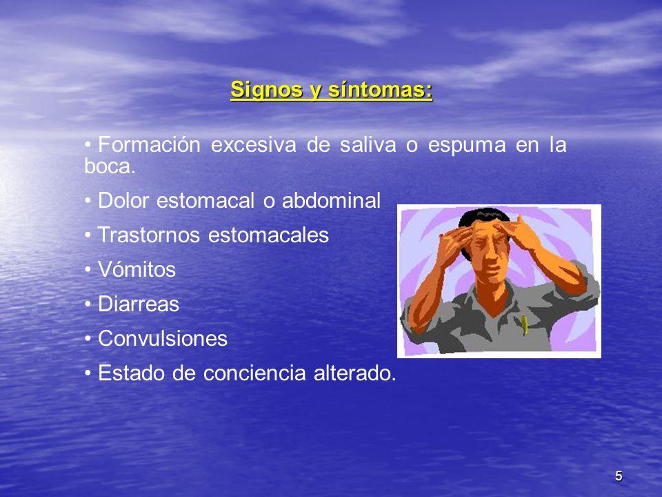 5 Signos y síntomas: Formación excesiva de saliva o espuma en la boca. Dolor estomacal o abdominal Trastornos estomacales Vómitos Diarreas Convulsione