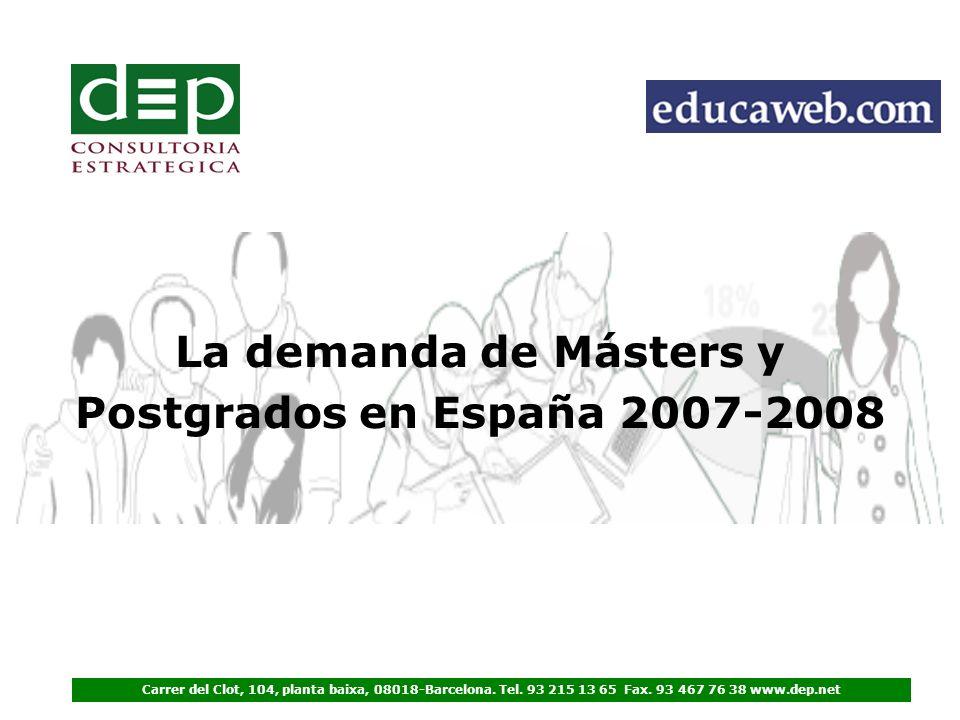 La demanda de Másters y Postgrados en España 2007-2008 Carrer del Clot, 104, planta baixa, 08018-Barcelona.