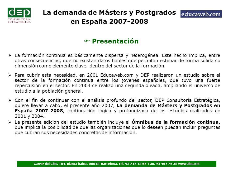 Presentación Para cubrir esta necesidad, en 2001 Educaweb.com y DEP realizaron un estudio sobre el sector de la formación continua entre los jóvenes españoles, que tuvo una fuerte repercusión en el sector.