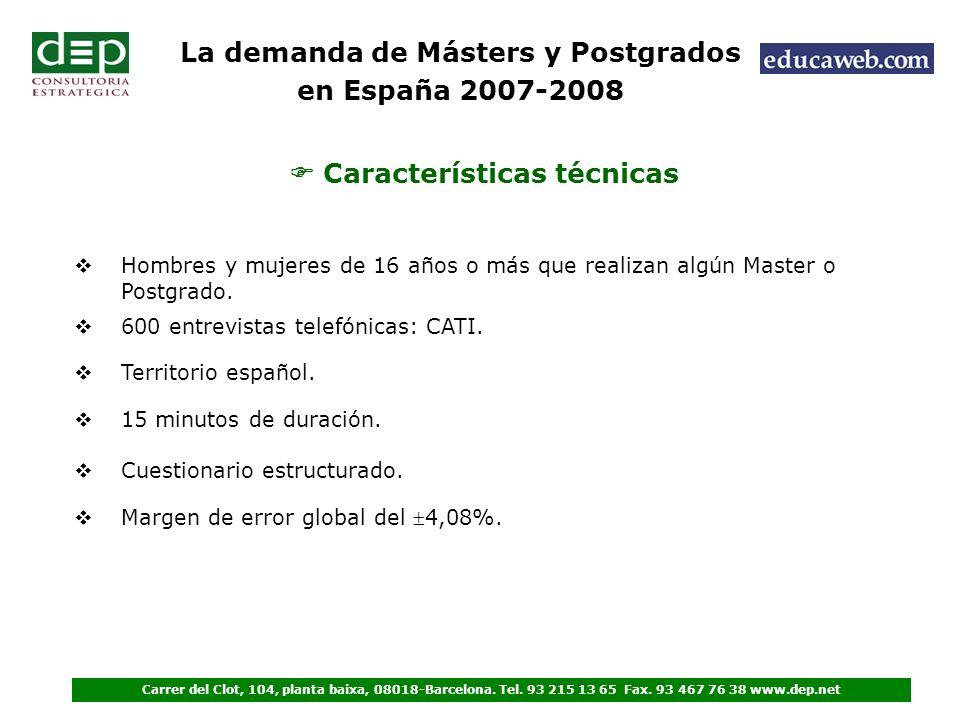 Características técnicas Hombres y mujeres de 16 años o más que realizan algún Master o Postgrado.