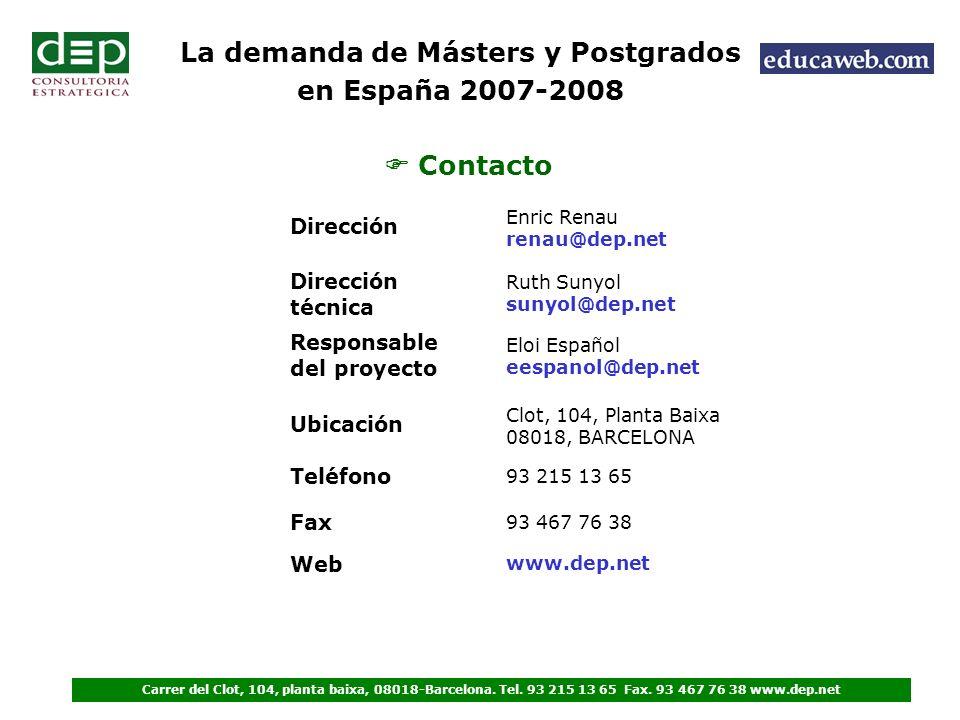 Contacto La demanda de Másters y Postgrados en España 2007-2008 Carrer del Clot, 104, planta baixa, 08018-Barcelona.