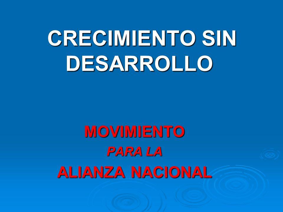 CRECIMIENTO SIN DESARROLLO CRECIMIENTO SIN DESARROLLO MOVIMIENTO PARA LA ALIANZA NACIONAL