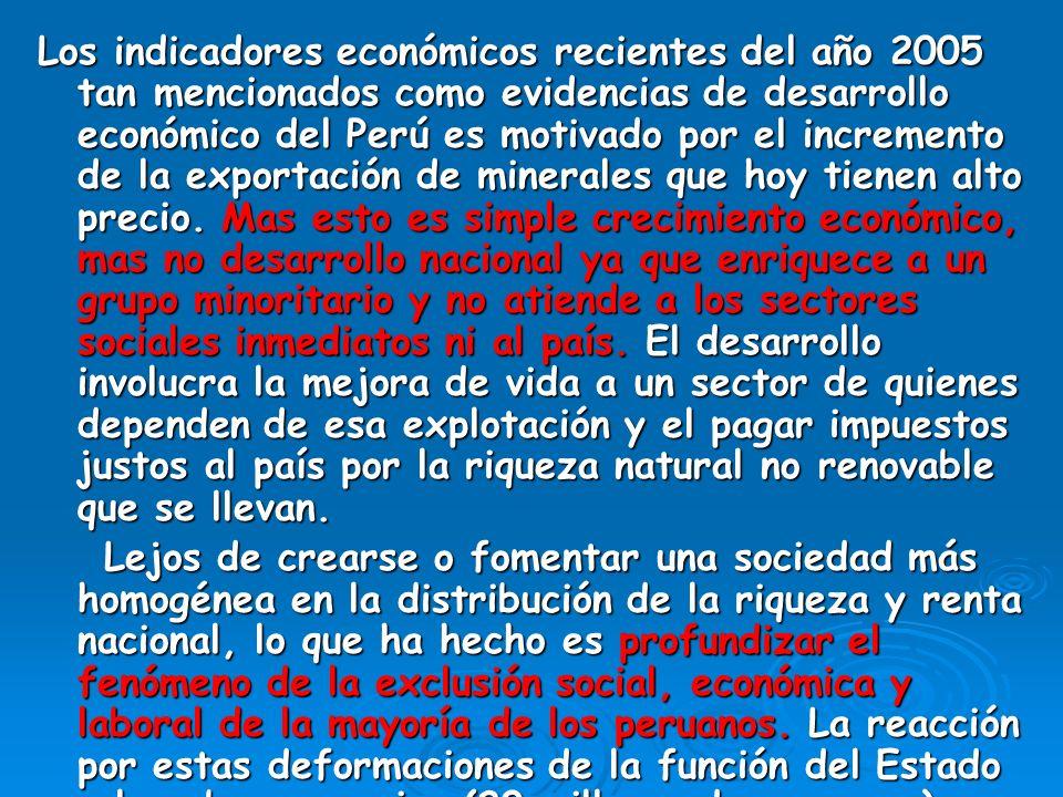 Los indicadores económicos recientes del año 2005 tan mencionados como evidencias de desarrollo económico del Perú es motivado por el incremento de la exportación de minerales que hoy tienen alto precio.