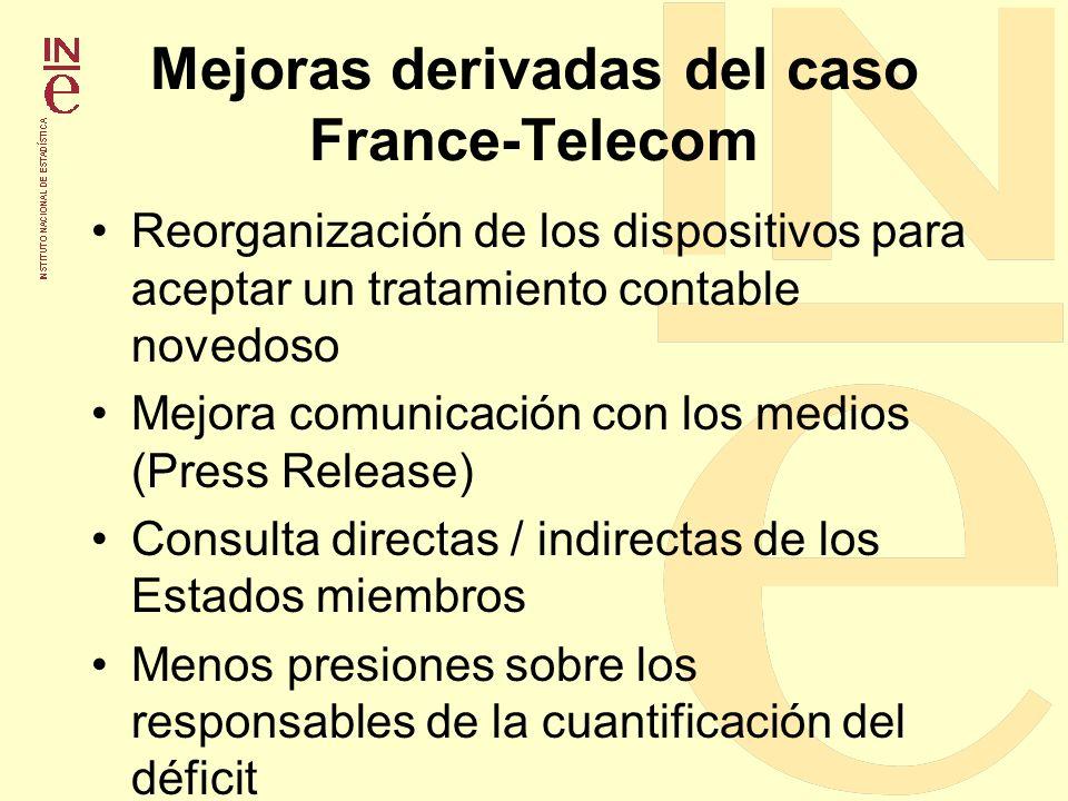 Mejoras derivadas del caso France-Telecom Reorganización de los dispositivos para aceptar un tratamiento contable novedoso Mejora comunicación con los
