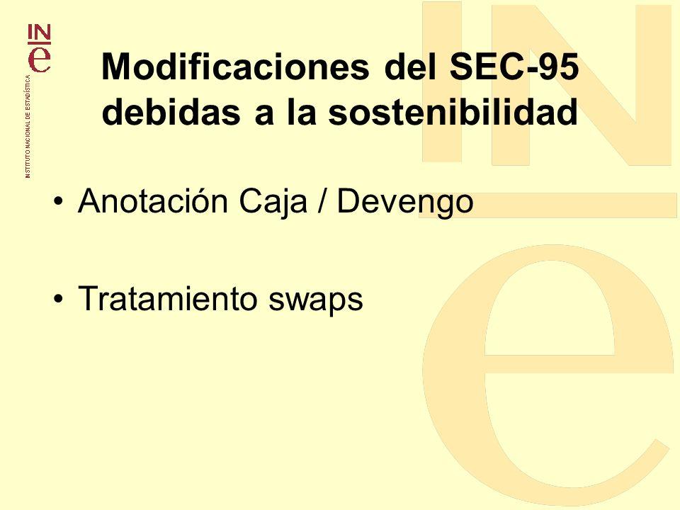 Modificaciones del SEC-95 debidas a la sostenibilidad Anotación Caja / Devengo Tratamiento swaps