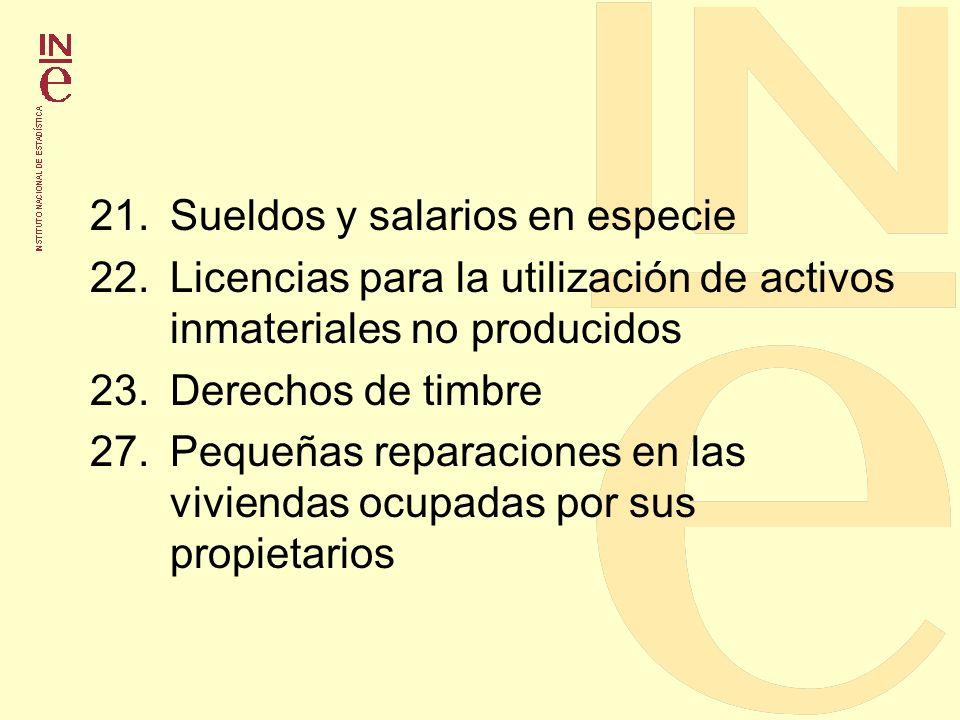 21.Sueldos y salarios en especie 22.Licencias para la utilización de activos inmateriales no producidos 23.Derechos de timbre 27.Pequeñas reparaciones